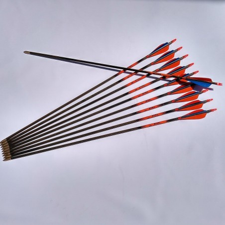 Megyer burnt, stained impregnated traditional wooden arrows.